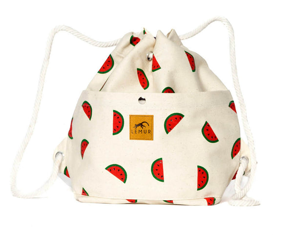 Canvas Drawstring Day Bag - Watermelons