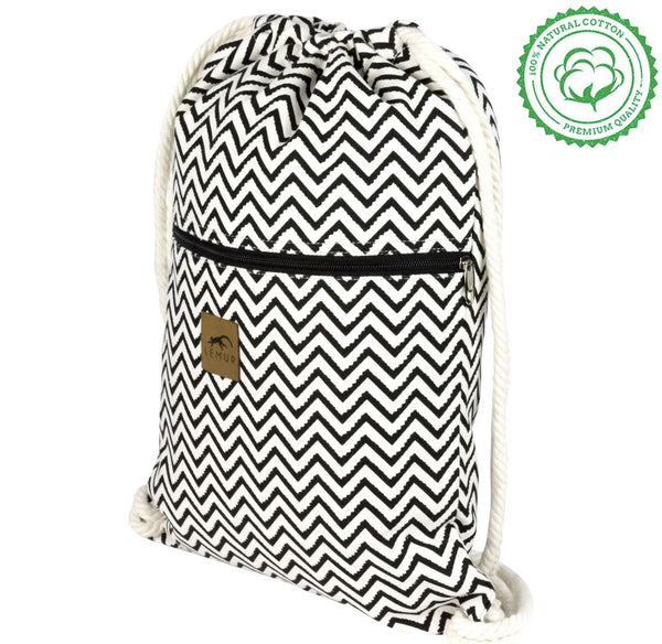 Zig Zag Canvas Drawstring Backpack