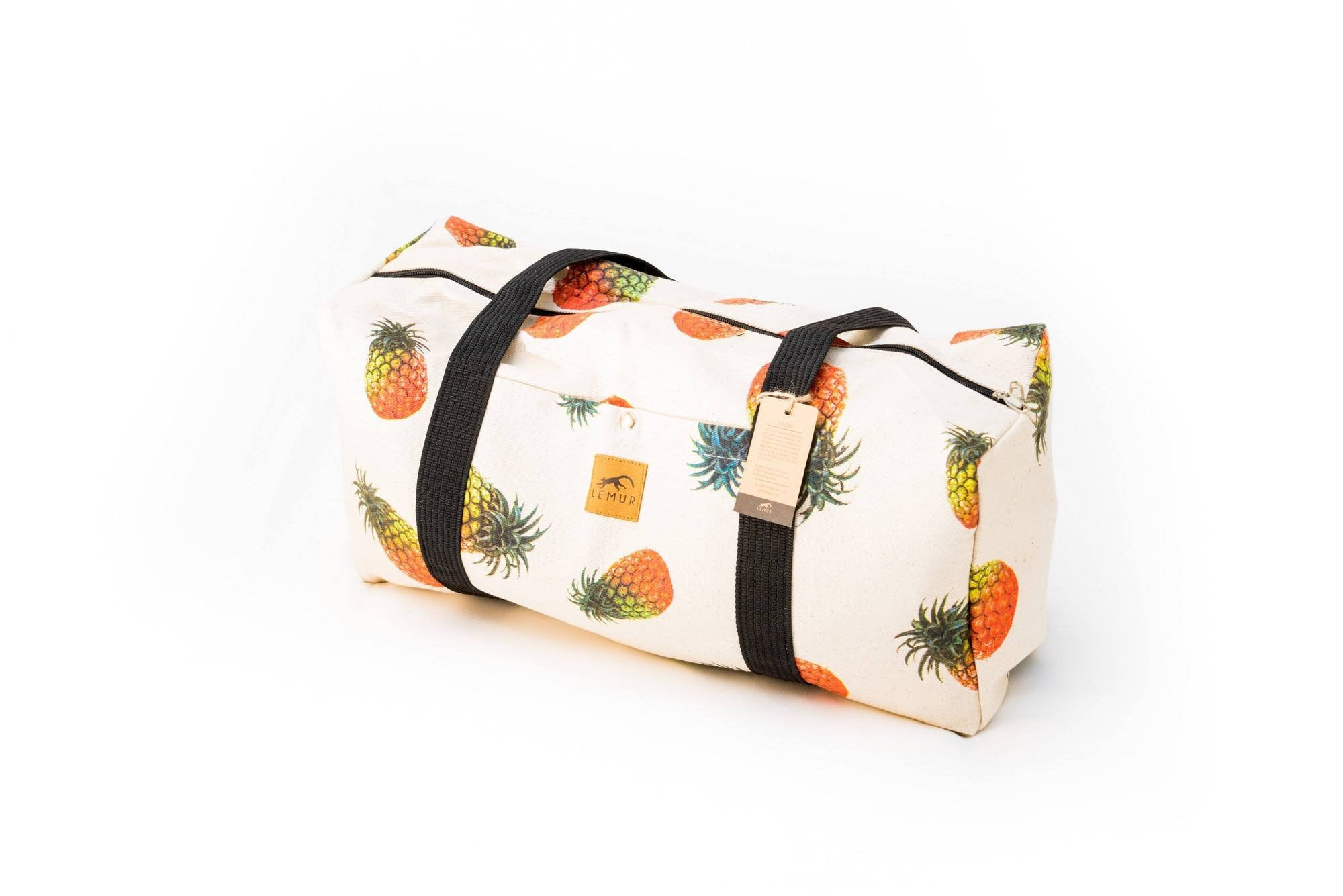 Canvas Duffel Bag - Canvas Duffel Bag - Gym Or Sports Bag, Carry-On Travel Luggage By Lemur Bags (Pineapples)