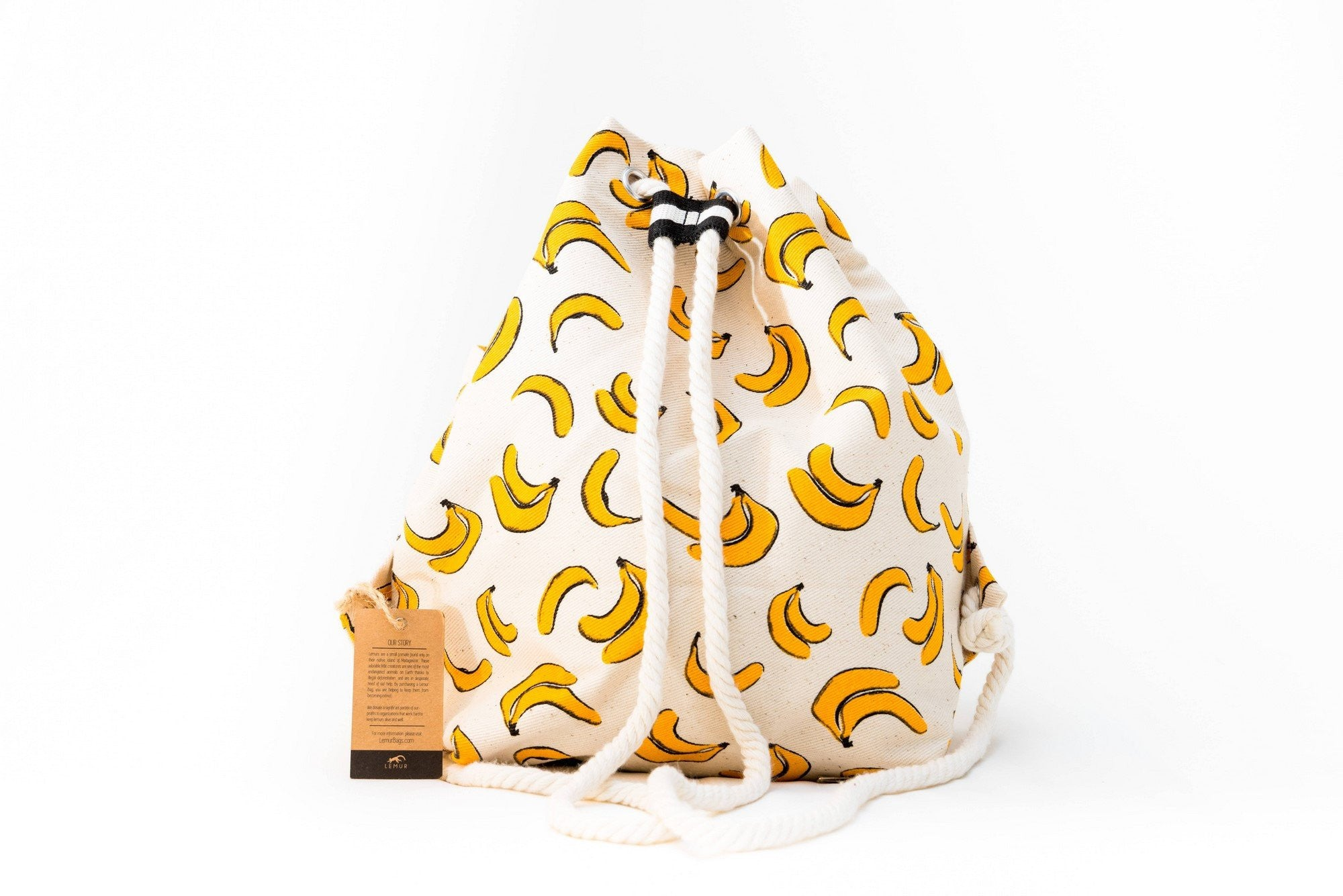 Canvas Travel Daypack - Canvas Travel Daypack - Rope Drawstring Cinchsack By Lemur Bags (Bananas)