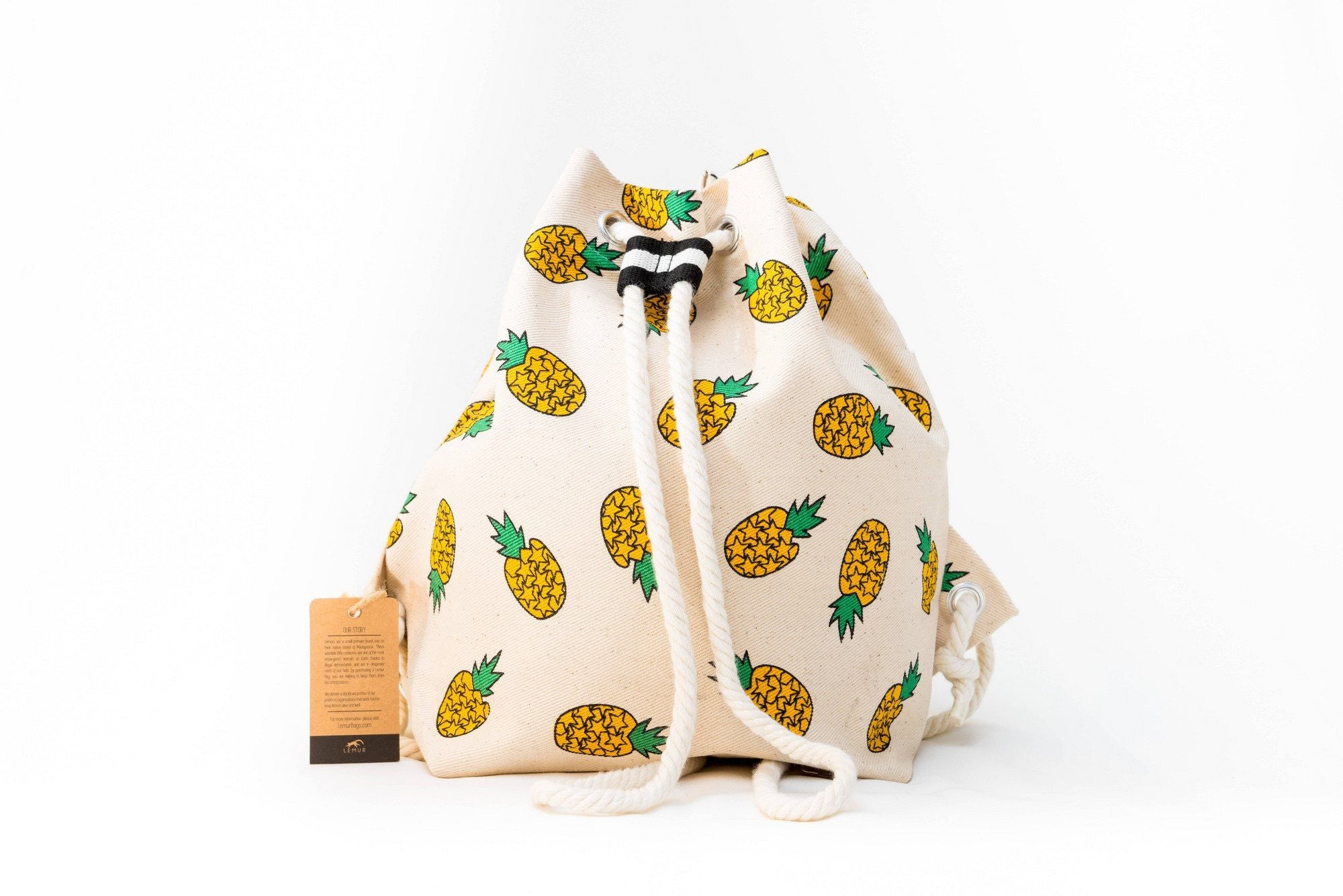 Canvas Travel Daypack - Canvas Travel Daypack - Rope Drawstring Cinchsack By Lemur Bags (Pineapples)