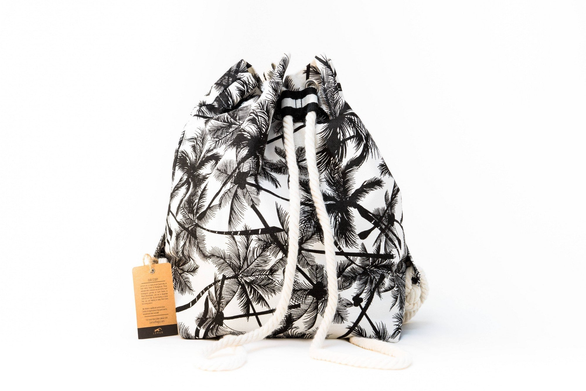 Canvas Travel Daypack - Canvas Travel Daypack - Rope Drawstring Cinchsack By Lemur Bags (Tropical Palm)