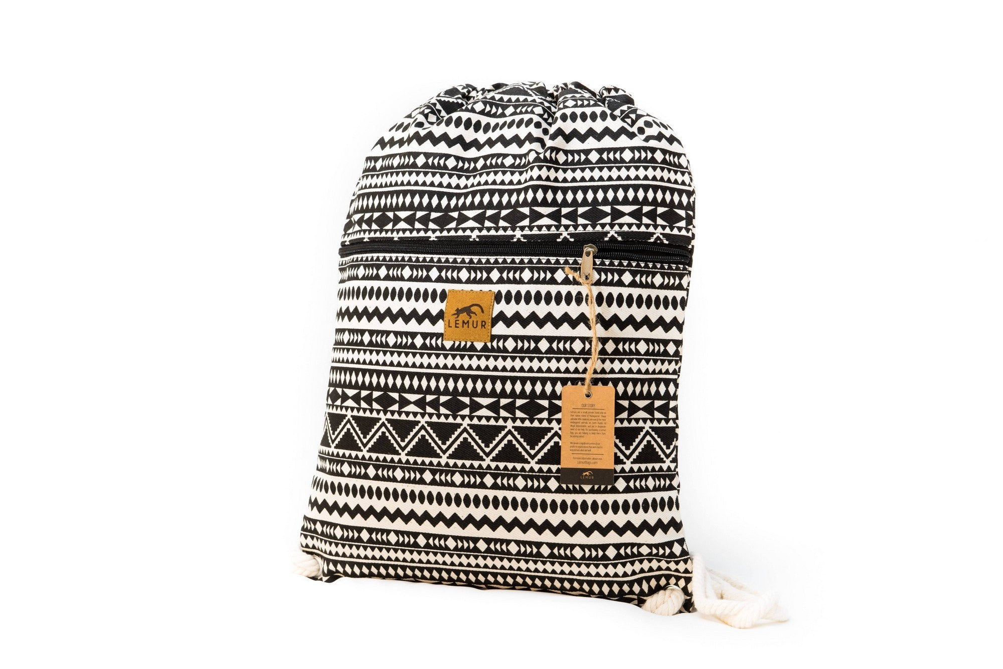 33a9555815fe Drawstring Backpack - Drawstring Backpack - Canvas Cinch Daypack Sackpack  By Lemur Bags (Aztec Tribal