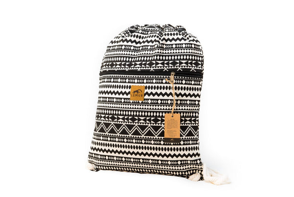 Drawstring Backpack - Drawstring Backpack - Canvas Cinch Daypack Sackpack By Lemur Bags (Aztec Tribal)