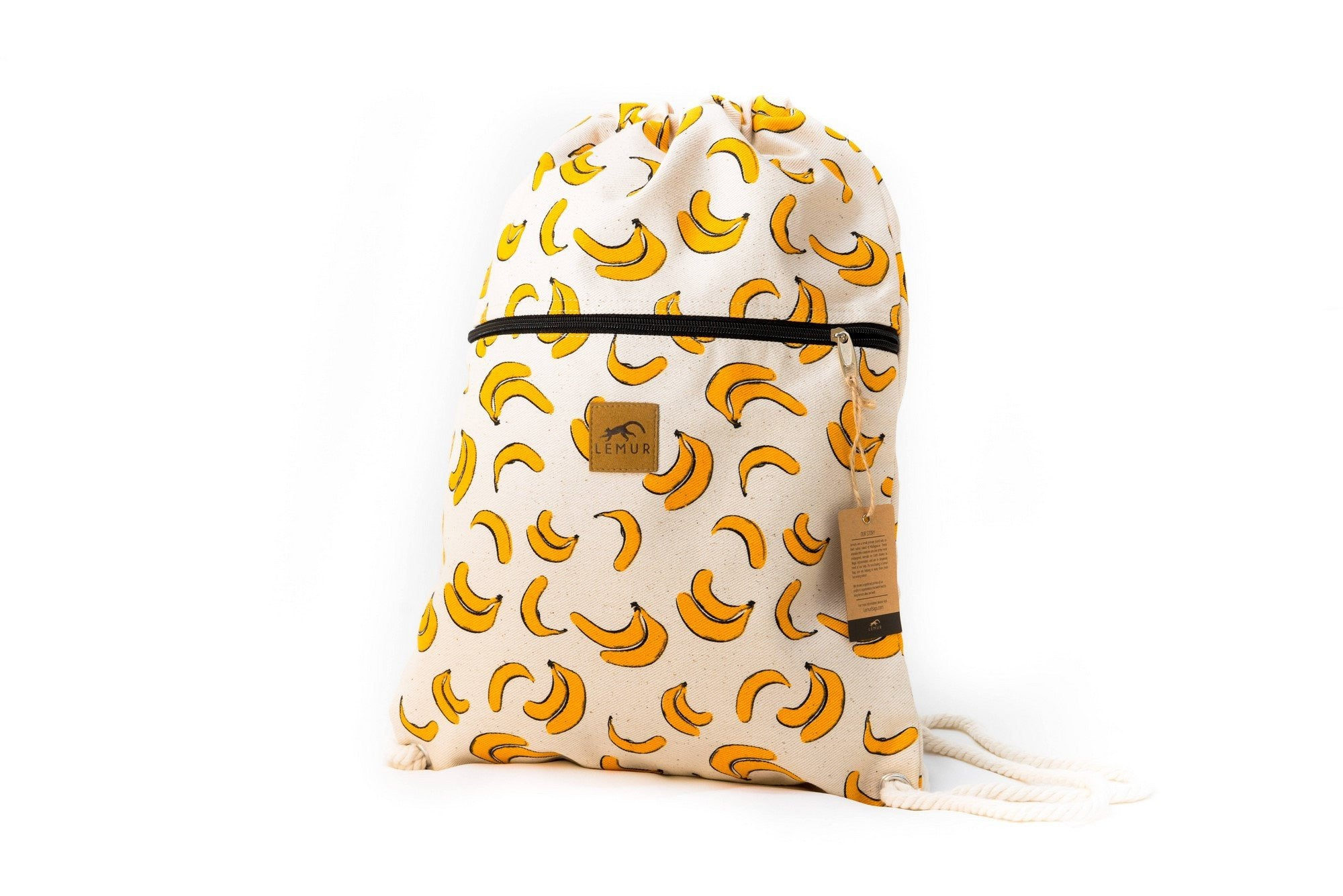 Drawstring Backpack - Drawstring Backpack - Canvas Cinch Daypack Sackpack By Lemur Bags (Bananas)