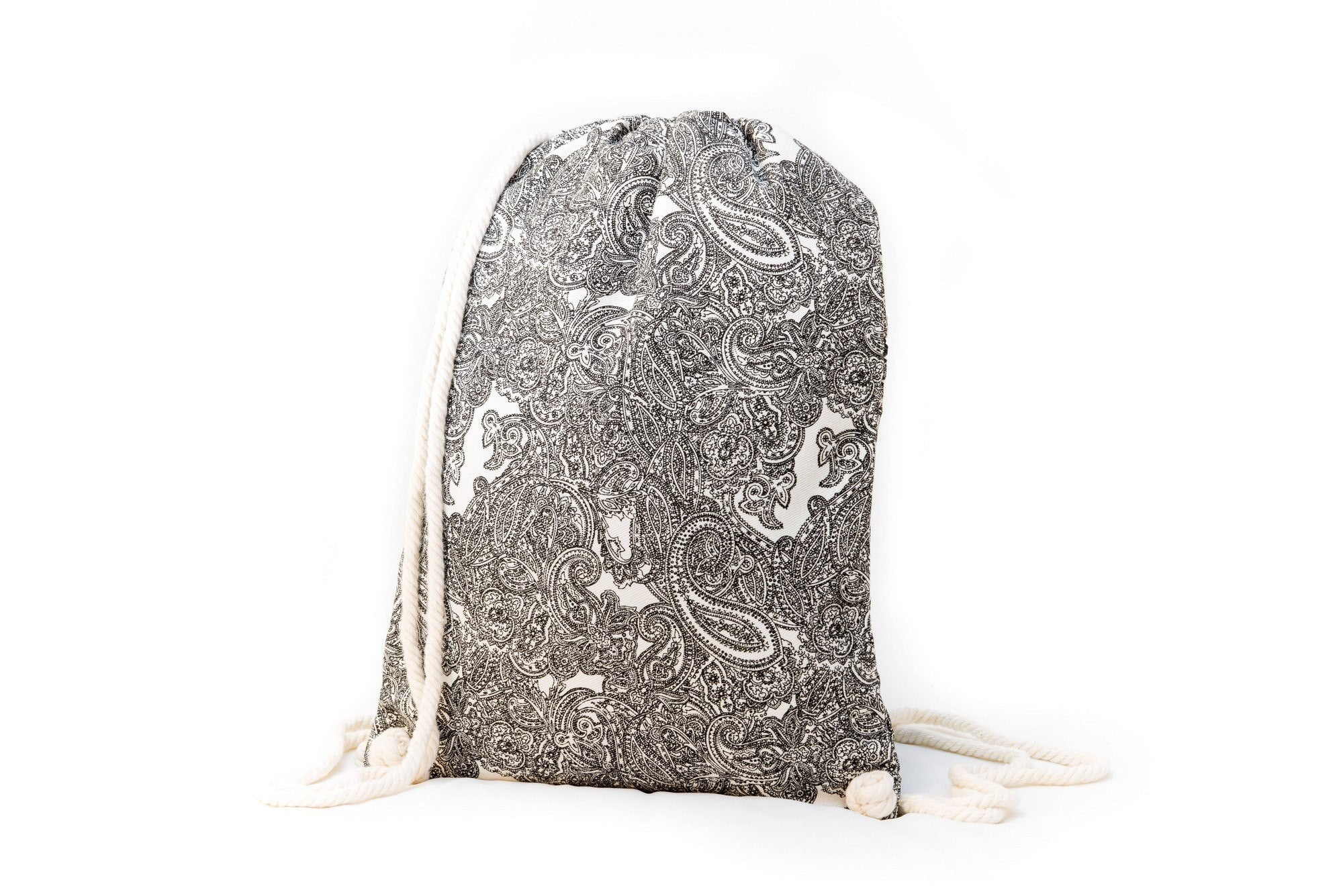 Drawstring Backpack - Drawstring Backpack - Canvas Cinch Daypack Sackpack By Lemur Bags (Paisley)