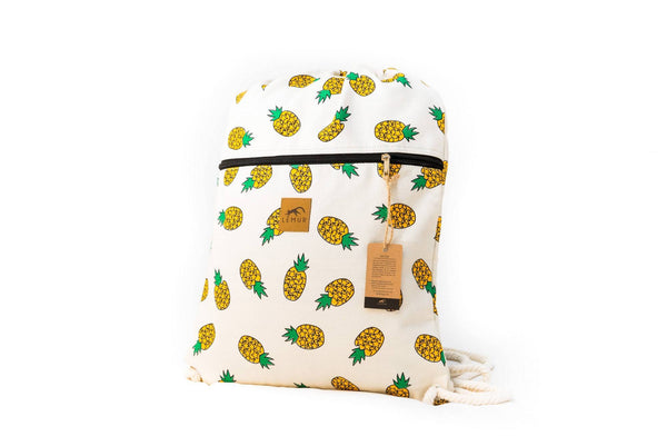 Drawstring Backpack - Drawstring Backpack - Canvas Cinch Daypack Sackpack By Lemur Bags (Pineapples)