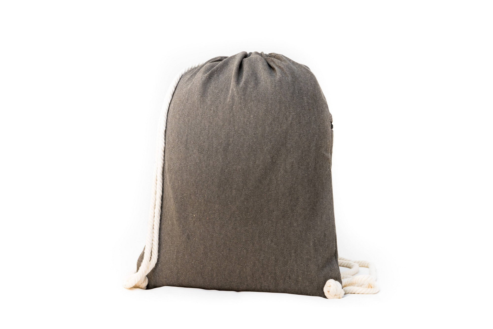 Drawstring Backpack - Drawstring Backpack - Canvas Cinch Daypack Sackpack By Lemur Bags (Stone Gray)