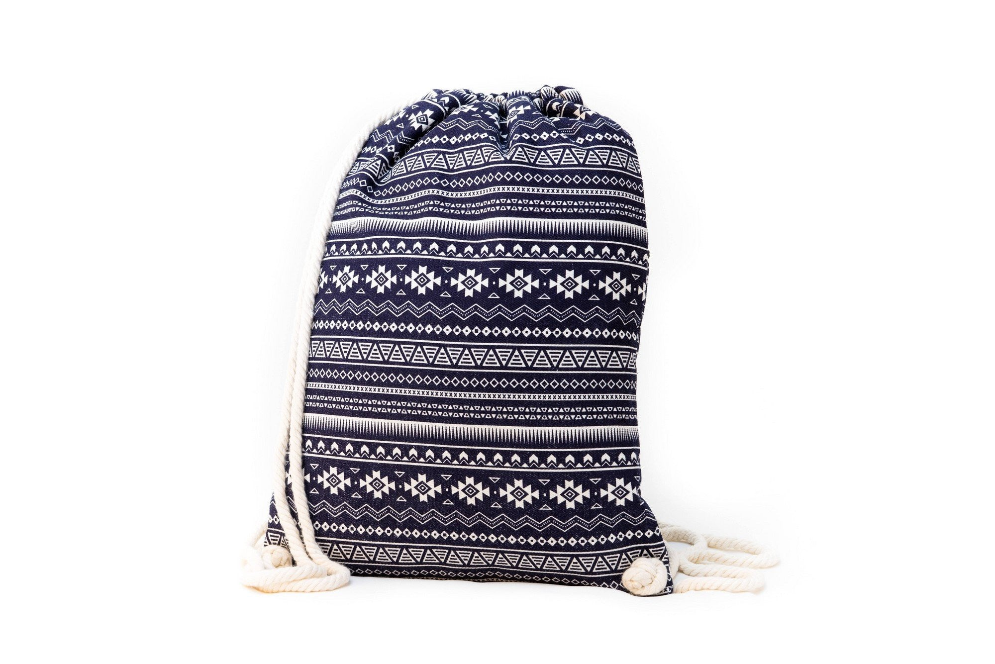 Drawstring Backpack - Drawstring Backpack - Canvas Cinch Daypack Sackpack By Lemur Bags (Tribal)