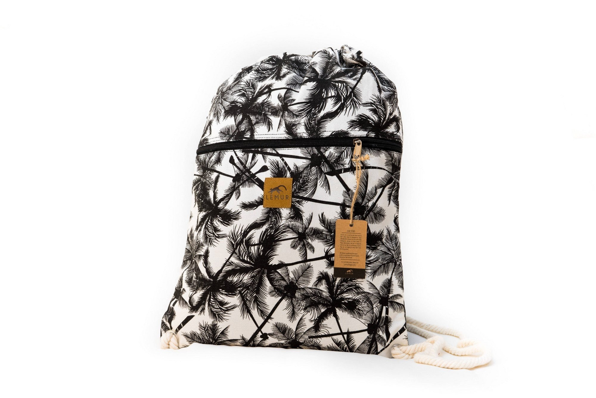 Drawstring Backpack - Drawstring Backpack - Canvas Cinch Daypack Sackpack  By Lemur Bags (Tropical Palm 27d0e3484c661