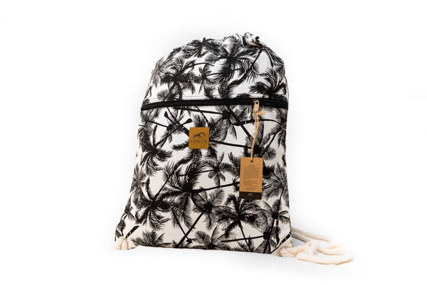 Drawstring Backpack - Drawstring Backpack - Canvas Cinch Daypack Sackpack By Lemur Bags (Tropical Palm)