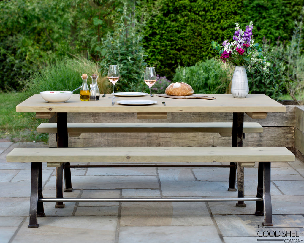 Cast iron wood outdoor dining table