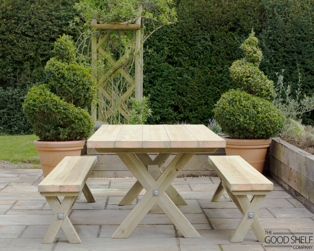 Rustic wooden outdoor X-frame cross beam garden patio dining table bench and matching table set