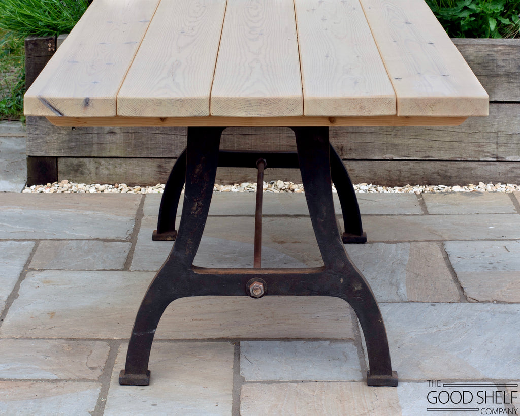 cast iron table legs wooden outdoor dining