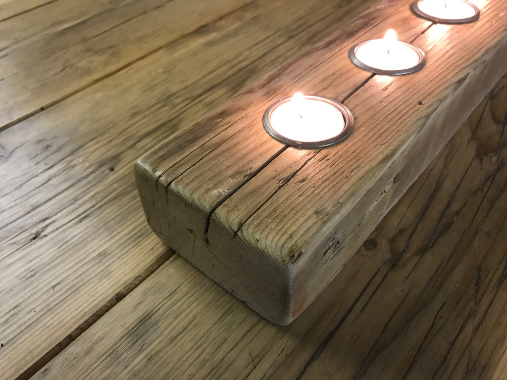 Tea Light Candle Holders in Rustic and Reclaimed Timber