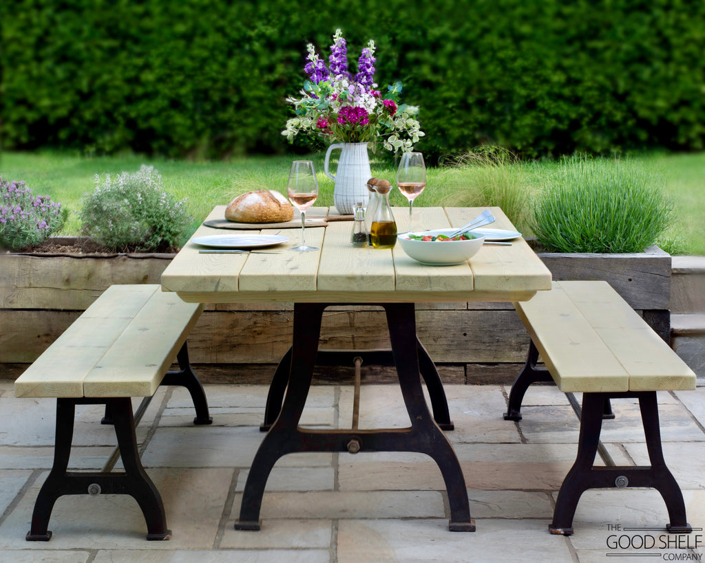 Outdoor garden patio dining table industrial cast iron