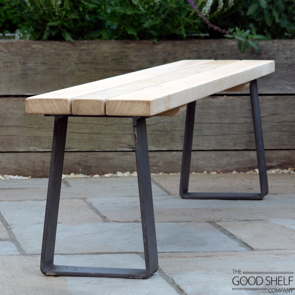 Busgrove Outdoor Oak and Steel Bench