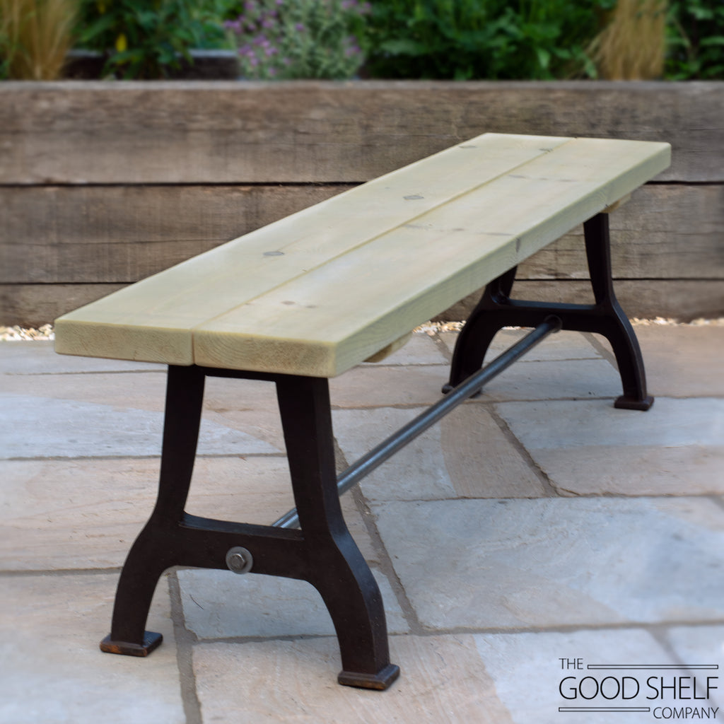 Outdoor garden patio wooden bench with cast iron industrial legs