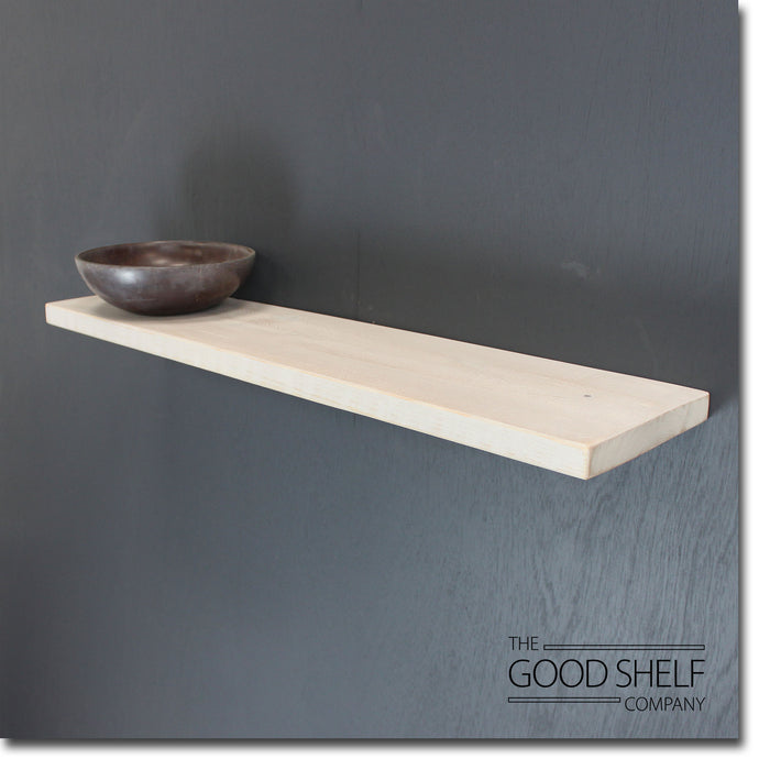 Rustic Distressed White Timber Floating Shelf - 3.2cm thick