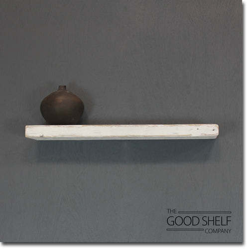 Reclaimed Distressed Whitewash Beam Floating Shelf - 6cm Thick