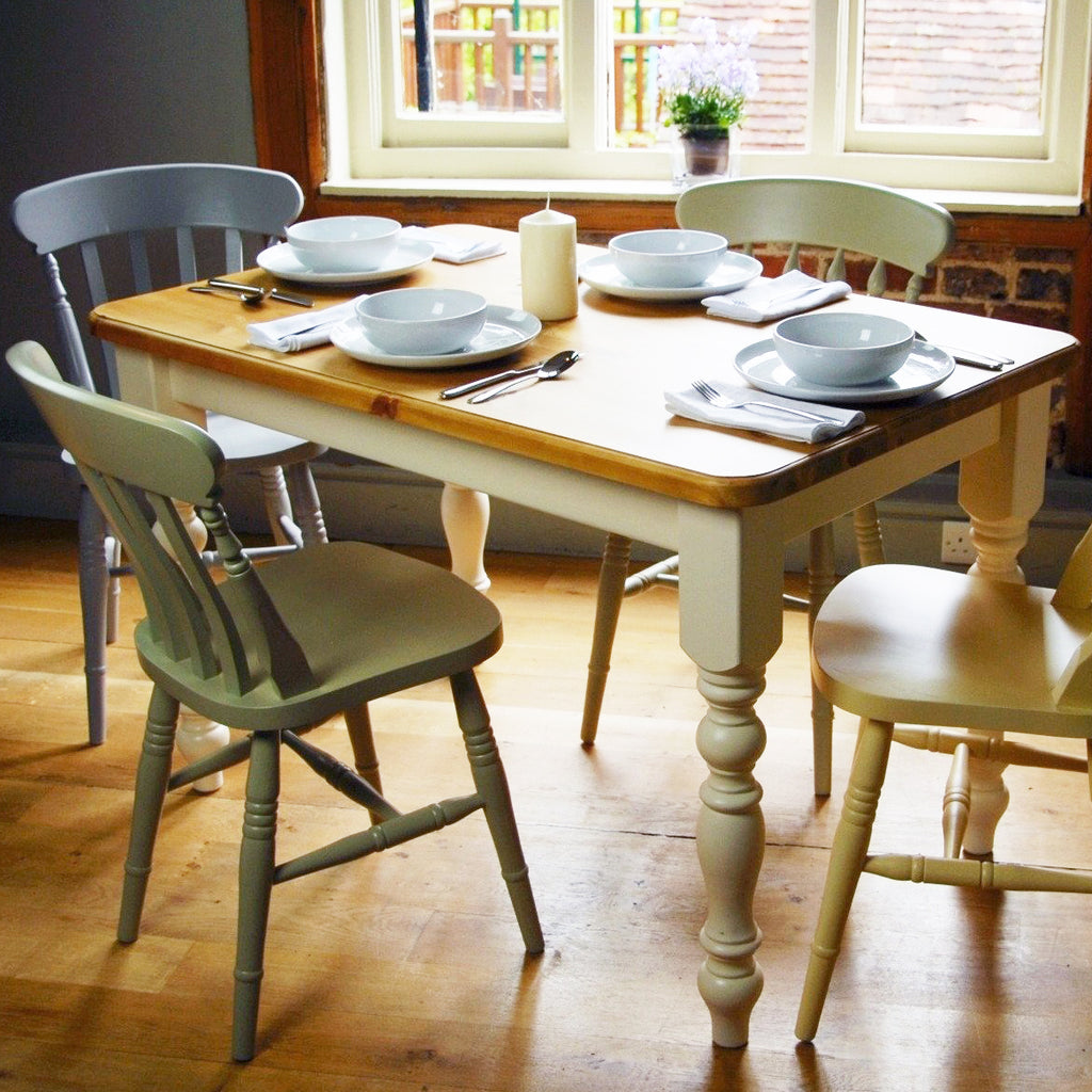 Traditional handmade farmhouse style pine dining table with painted legs