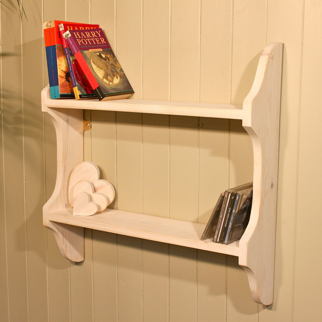 2 Tier Shabby Chic Shelf with cutaway sides