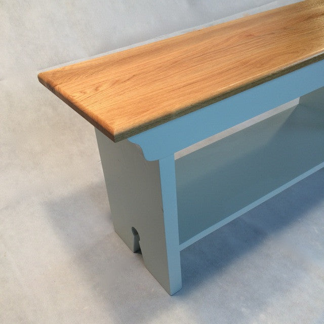 Victorian style school bench painted with oak or pine top