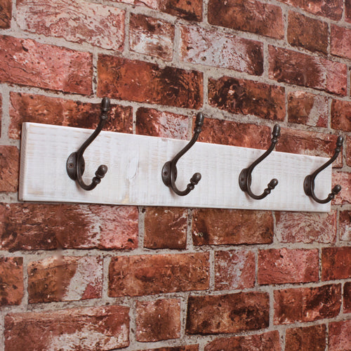 Salvaged Timber Coat Rack in Old White