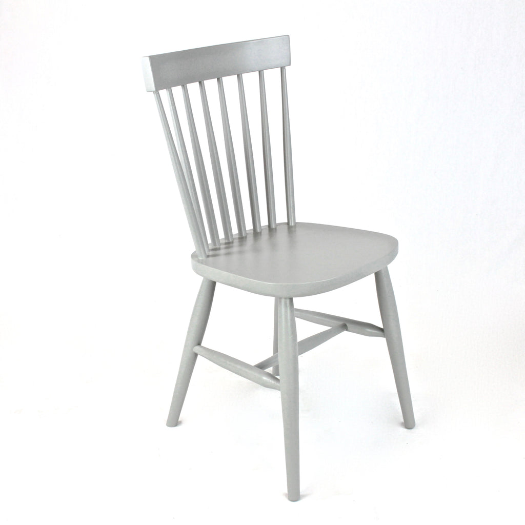 Stickback wooden dining chair painted white