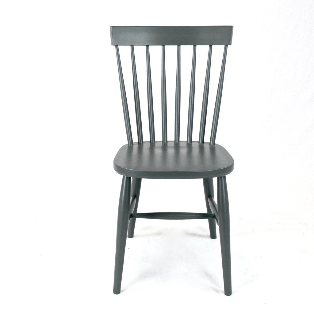 Stickback wooden dining chair painted grey