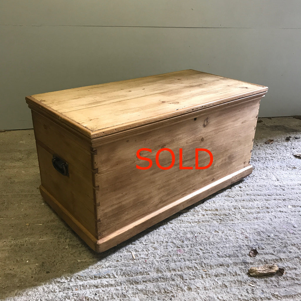 Original Pine Blanket Box - Antique Old Stripped and Polished Pine BB3