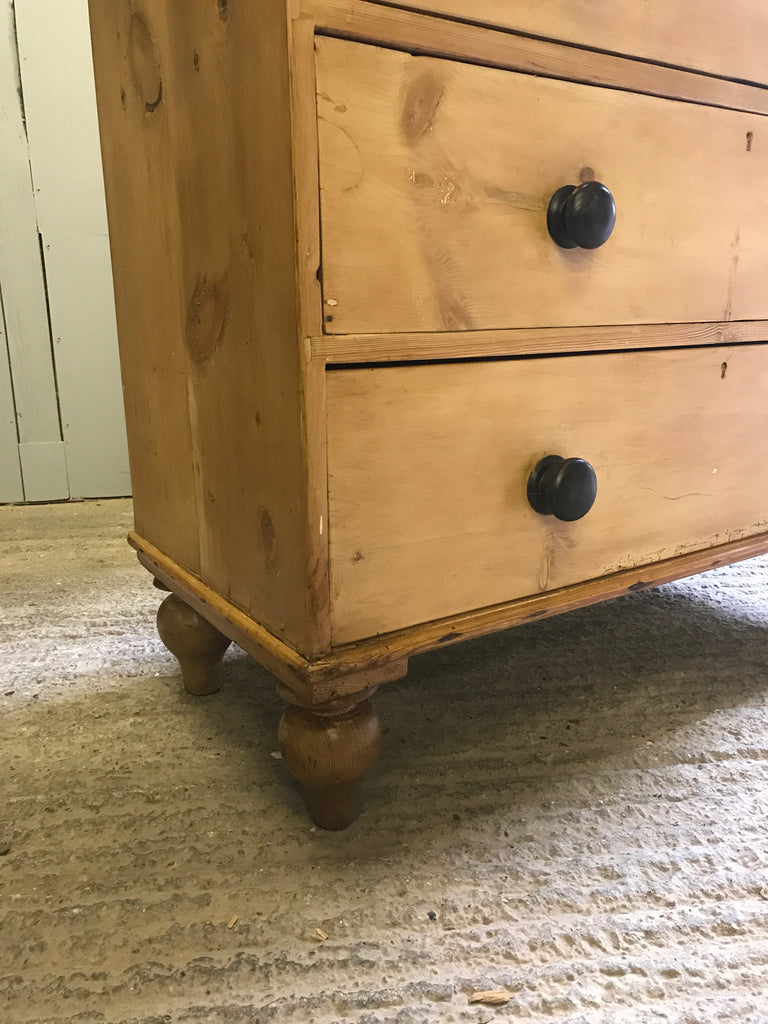 Vintage Pine 5 Drawer Victorian Chest, Antique Old Country Furniture COD4