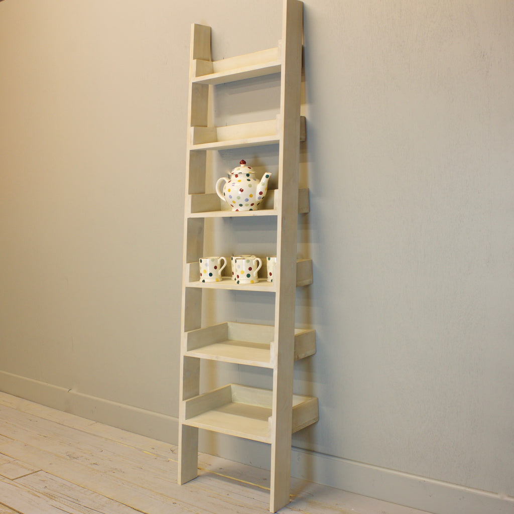 Ladder Bookcase - Distressed White