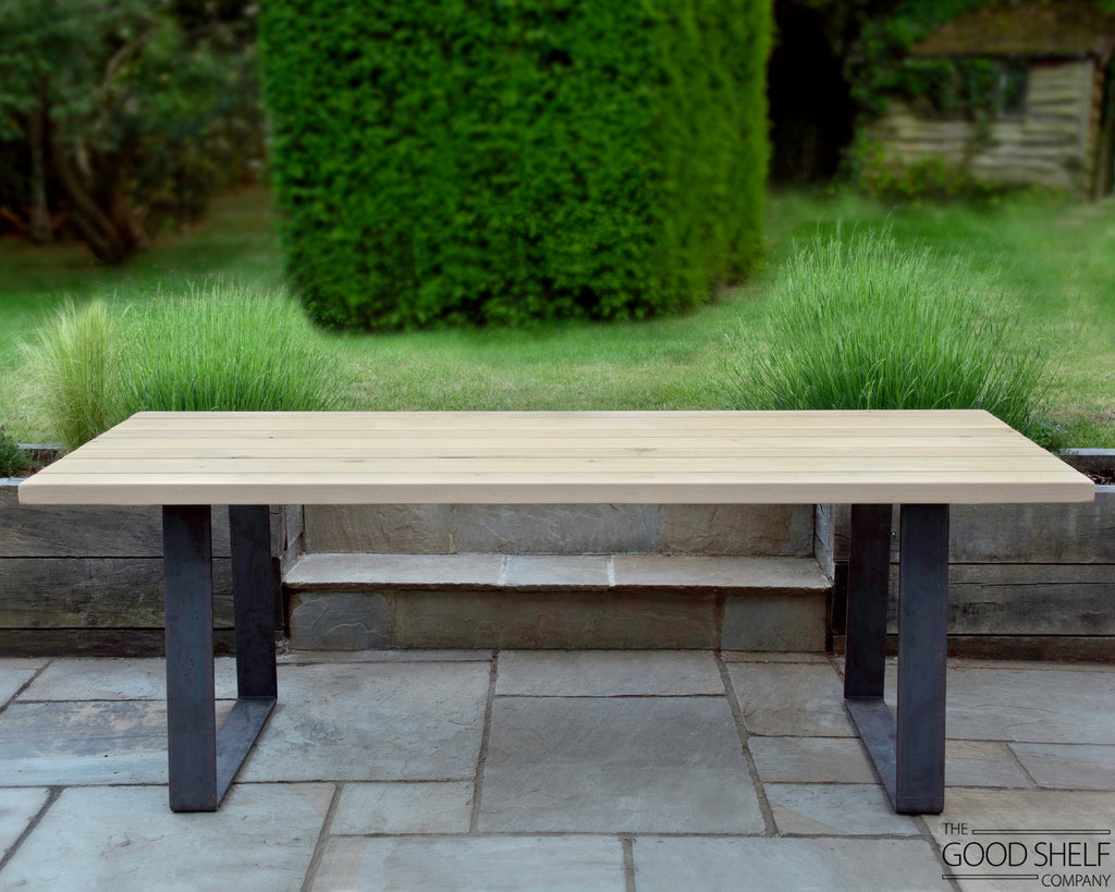 Handcrafted Oak Outdoor Garden Patio Dining Table Steel