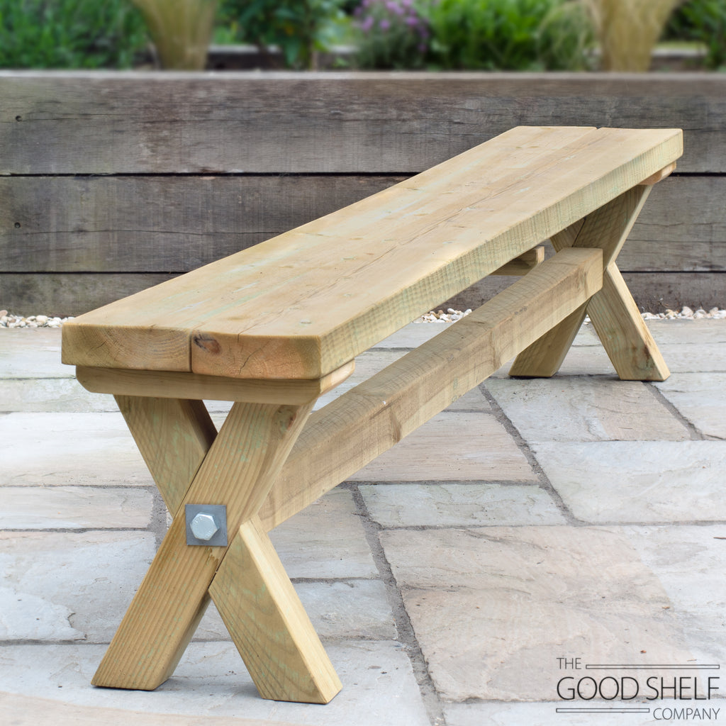 Rustic wooden outdoor X-frame cross beam garden patio dining table bench