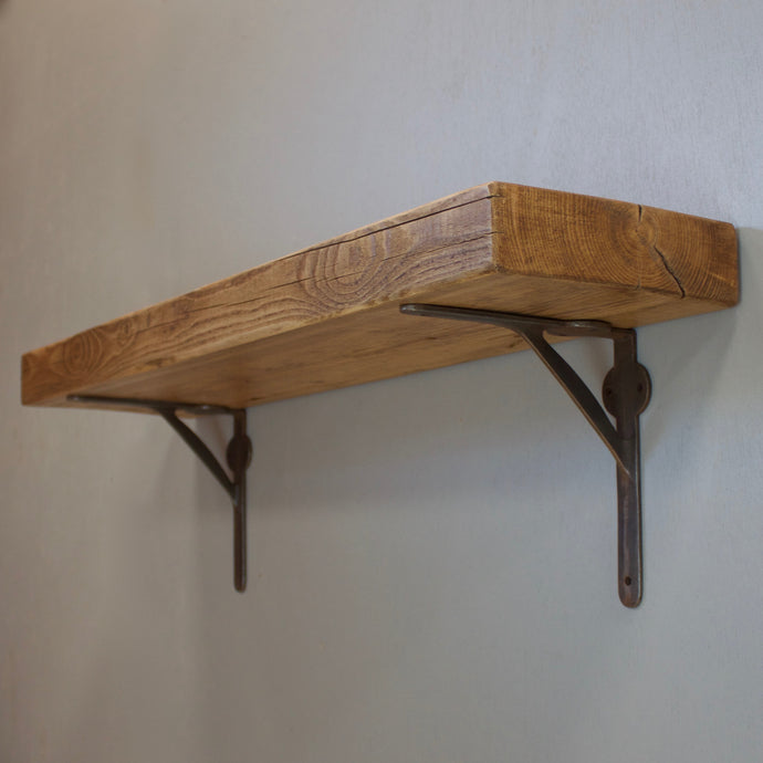 Reclaimed Timber Beam Floating Shelf with Industrial Supports