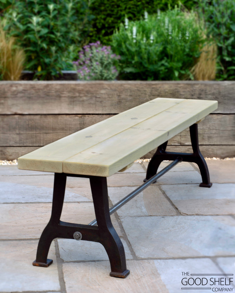 Outdoor garden patio dining wooden bench with cast iron industrial legs