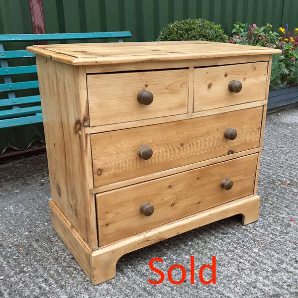 Vintage Pine 2 over 2 Victorian Chest of Drawers, Antique Country Furniture COD2
