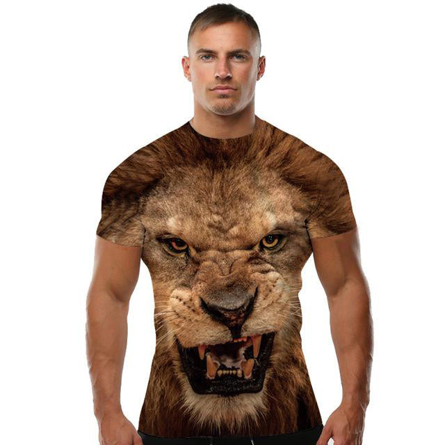 a6cf126a4310 Cool Men Short Sleeve 3d Animal Print T-shirts