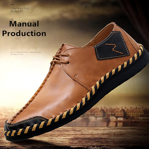 Handmade Split Leather Lace Up Casual Shoes