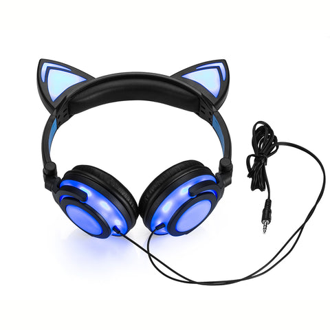 Foldable Flashing Glowing Cat Ear Headphones with LED Light - Bluetooth Earphone - Youngerfan