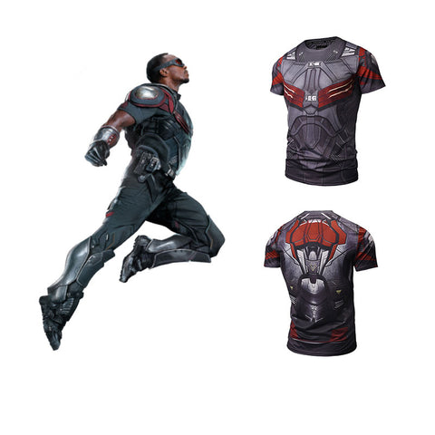 Falcon 3D Print T-Shirt Men's Short Sleeve Slim Fit - Men T-Shirt - Youngerfan