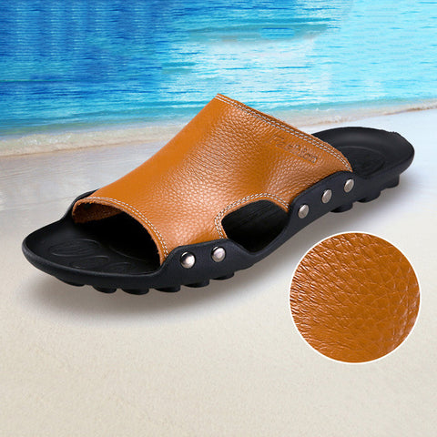 Genuine Leather Slippers Breathable Beach Flats