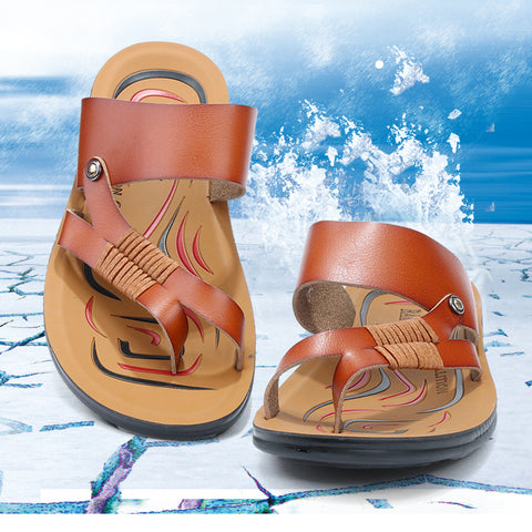 Genuine Split Leather Men Beach Sandals