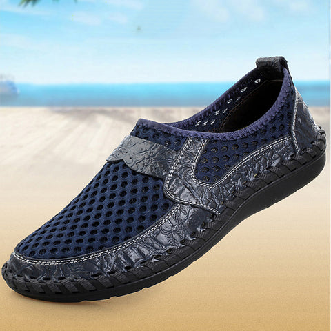 Breathable Mesh Genuine Leather Slip-On Shoes
