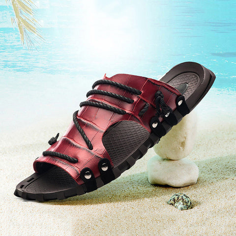 Genuine Leather Beach Flat Slippers
