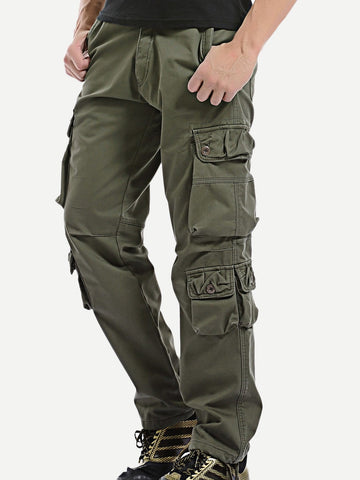 Men Solid Pockets Side Pants
