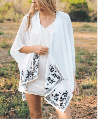Boho Floral Embroidered Ends Kimono - Comes in 3