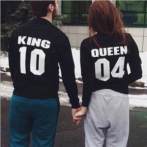 2018Fashion QUEEN KING Letter Lovers Couple  Hoodie Sweatershirts
