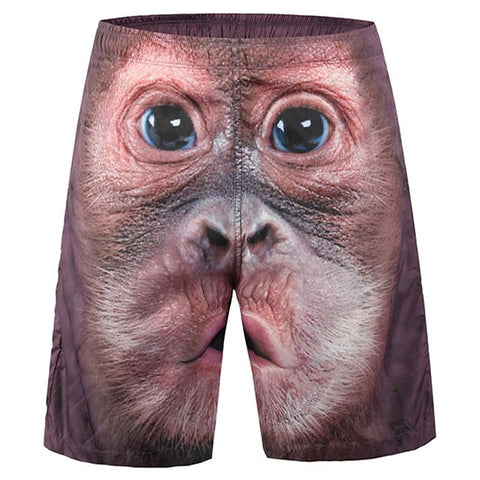 Trendy Fashion Men Print Monkey Face Beach Shorts